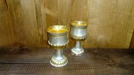 7. Чаша за вино ръчно кована посребрена и частично позлатена 200мл